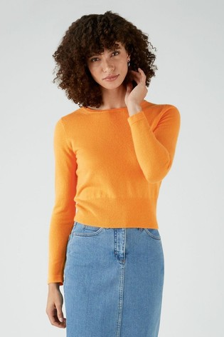 Pure Collection Yellow Cashmere Cropped Sweater