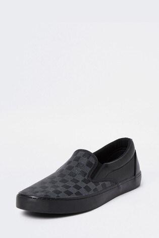 River Island Black 7522 Monogram Slip On Shoes
