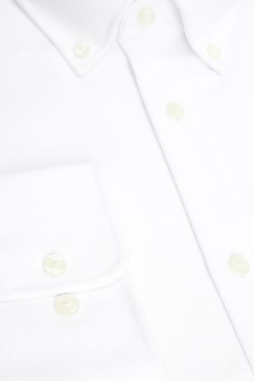 White Regular Fit Single Cuff Easy Care Oxford Shirt