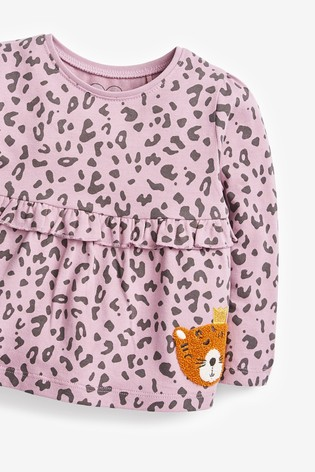 Purple Leopard Frill Empire T-Shirt (3mths-7yrs)