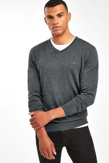 Tommy Hilfiger Core Cotton Silk V Neck Sweater