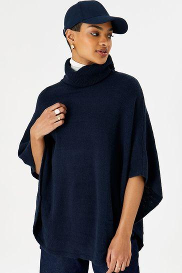 Accessorize Blue Cosy Knit Poncho