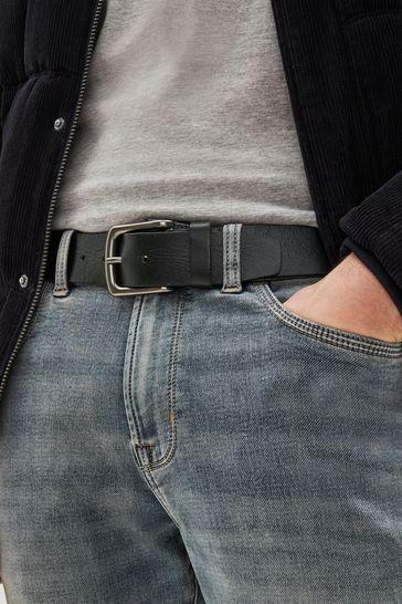 Black Creased Effect Leather Belt
