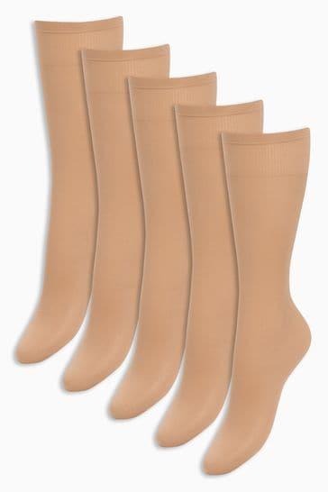 Nude Knee High Socks Five Pack