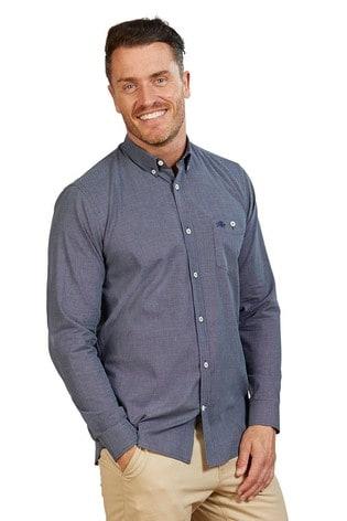 Raging Bull Blue Long Sleeve Geometric Dobby Shirt