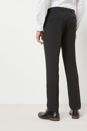 Black Slim Fit Machine Washable Plain Front Trousers