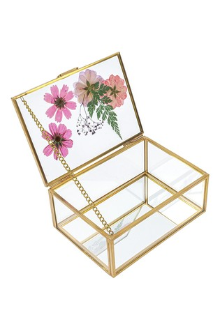 Paperchase Floral Glass Jewellery Box
