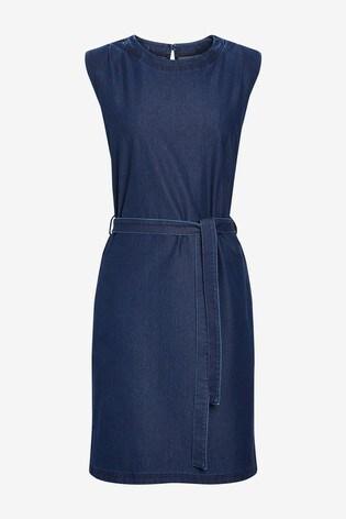 Navy Shoulder Pad Jersey Denim Dress