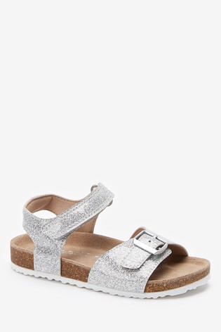 Silver Glitter Buckle Sandals (Younger)