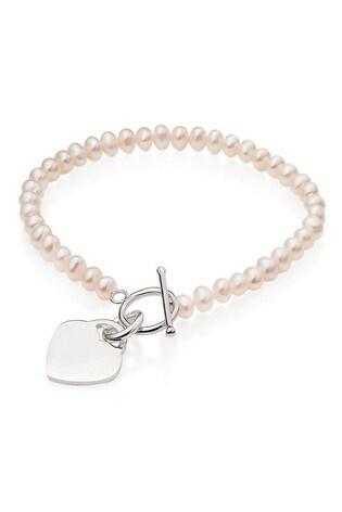 Beaverbrooks Silver Freshwater Pearl Heart Bracelet