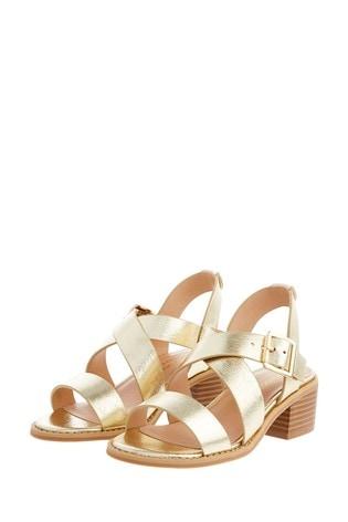 Monsoon Gold Metallic Strap Heeled Sandals