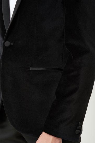 Black Slim Fit Velvet Shawl Collar Tuxedo Jacket