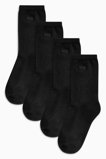Black Cushion Sole Ankle Socks Four Pack