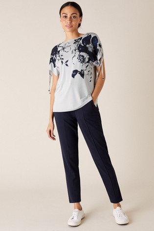 Monsoon Grey Pia Floral Lounge T-Shirt With Lenzing™ EcoVero™