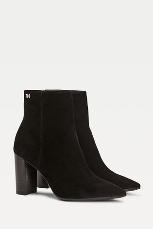 Tommy Hilfiger Black Essential Suede Ankle Boots