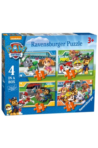 Ravensburger PAW Patrol Four in a Box 12, 16, 20, 24 Piece Jigsaws