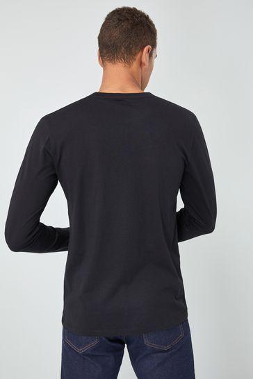 Black Regular Fit Long Sleeve Crew Neck T-Shirt
