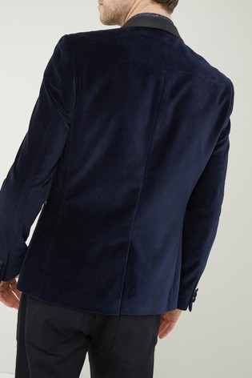 Navy Slim Fit Velvet Jacket