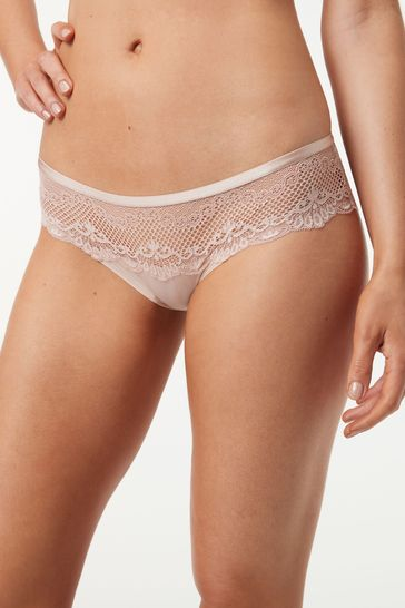 Light Pink Brazilian Microfibre And Lace Knickers