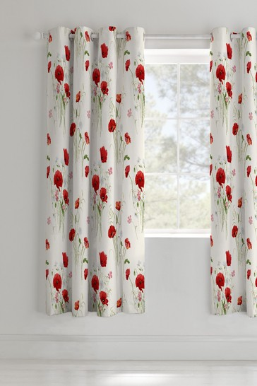Wild Poppies Eyelet Curtains by Catherine Lansfield