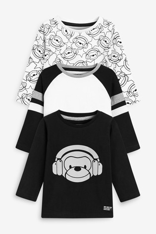 Mono Monkey 3 Pack Long Sleeve Character T-Shirts (3mths-7yrs)