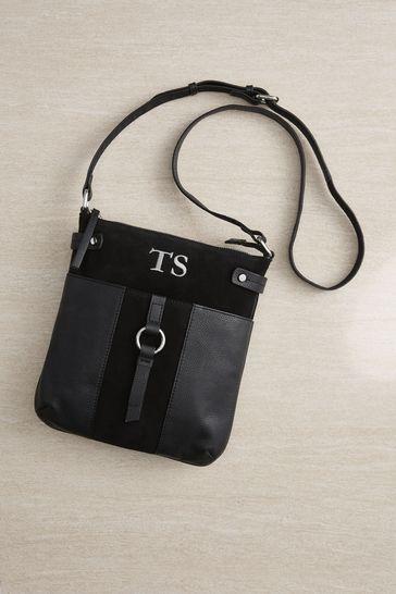 Personalised Black Messenger Bag