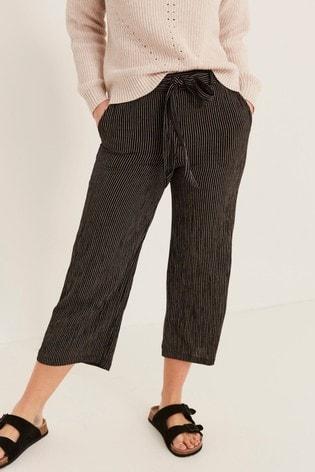 FatFace Black Exmouth Stripe Crop Trousers