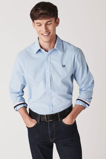Crew Clothing Company Blue Micro Gingham Shirt