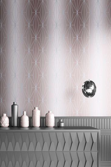 Muriva Silver Kayla Metallic Geo Wallpaper