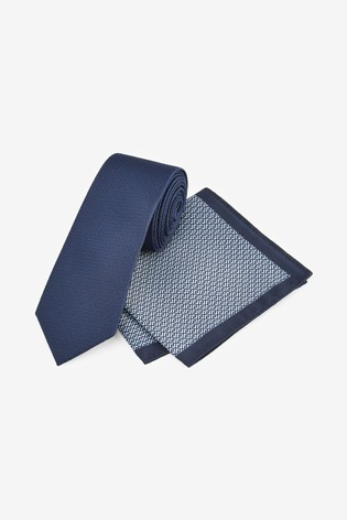 Navy Textured Tie With Geometric Pocket Square Set