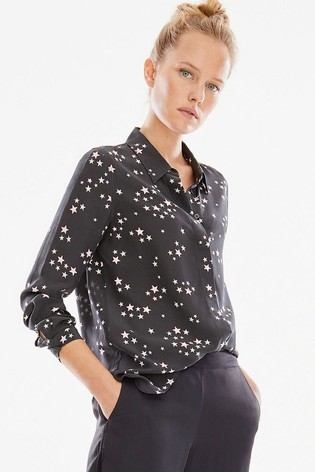 Pure Collection Black Washed Silk Relaxed Blouse