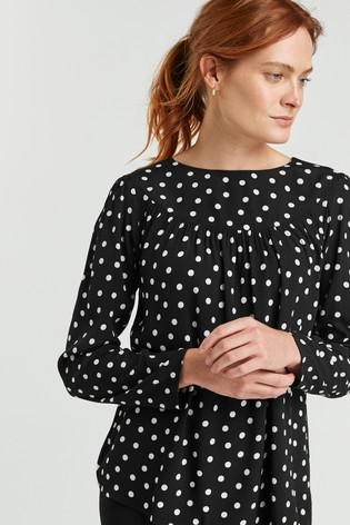 Monochrome Spot Long Sleeve Yoke Detail T-Shirt
