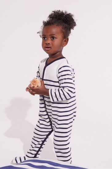 White Petit Bateau Navy And White Stripe Sleepsuit