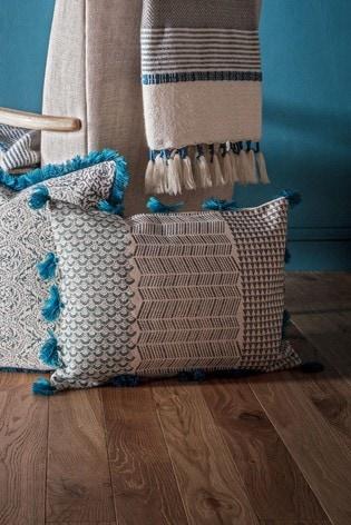 Gallery Direct Advika Block Print Tassel Cushion