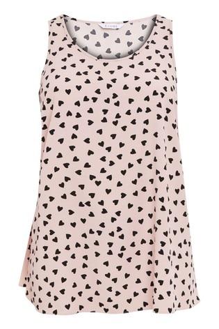 Evans Curve Pink Heart Print Vest