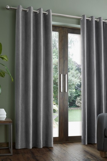 Catherine Lansfield Faux Suede Eyelet Curtains