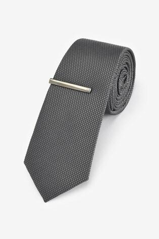 Dark Charcoal Textured Tie With Tie Clip