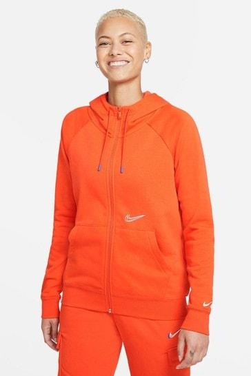 Nike Womens Orange Dance Zip Through Hoodie