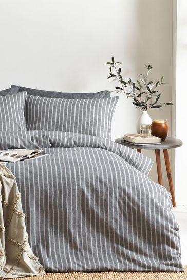Herringbone Stripe Duvet Cover and Pillowcase Set by Riva Home