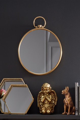 Antique Brass Round Wall Mirror by Pacific