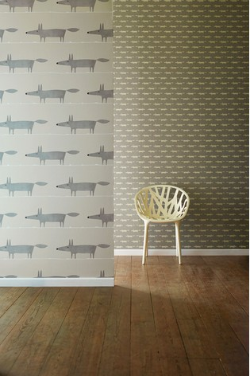 Scion Silver Mr Fox Wallpaper