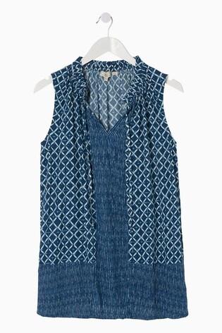 FatFace Blue Dina Shibori Patch Longline Top