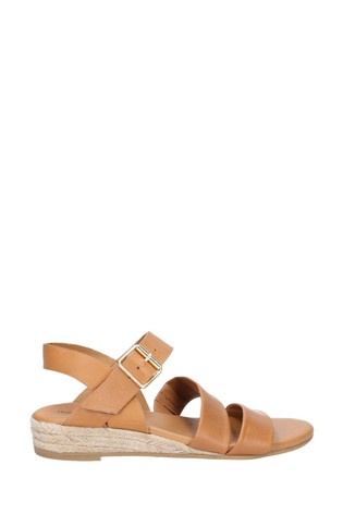 Hush Puppies Tan Ruby Buckle Strap Wedge Sandals