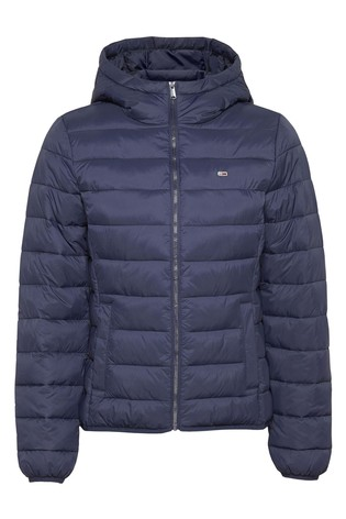 Buy Tommy Jeans Blue Hooded Quilted Full Zip Jacket from ...