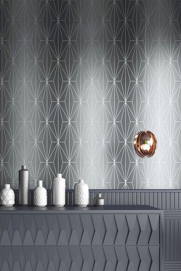 Muriva Kayla Metallic Geo Wallpaper