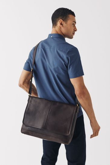 Tan Brown Signature Leather Messenger