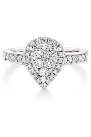 Beaverbrooks Platinum Diamond Pear Cluster Ring