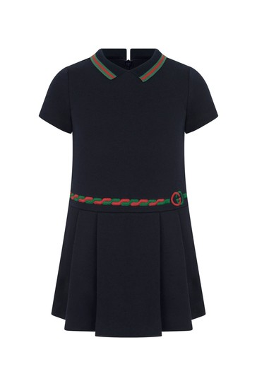 Girl Navy Cotton Dress