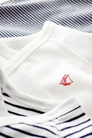 Petit Bateau Navy Stripe Iconic Rib Long Sleeve Bodysuits Three Pack