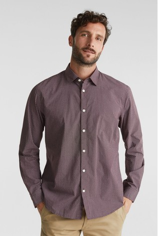Esprit Mens Red Long Sleeved Woven Premium Shirt